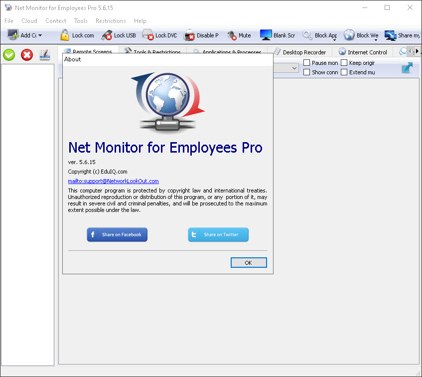 Net Monitor for Employees screen